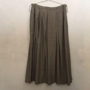 Vintage Neiman Marcus Box Pleated Gray Wool Skirt